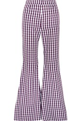 House Of Holland Gingham Poplin Flared Pants Purple