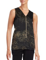 Lafayette 148 New York Julieta Chain Trimmed Printed Blouse Black Multi