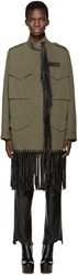 Alexander Wang Green Leather Fringed Coat