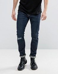 Allsaints Jeans In Skinny Fit With Knee Rips Indigo Blue