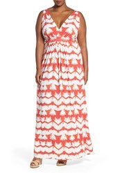 Tart Plus Size Women's 'Chloe' Print Empire Waist Jersey Maxi Dress Multi Tie Dye Stripe