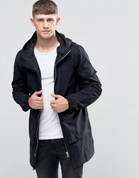 Bellfield Two Way Zip Parka With Drawstring Hood Black