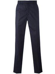 Alexander Mcqueen Satin Back Tailored Trousers Blue