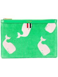 Thom Browne Whale Embroidery Small Tablet Folio Green