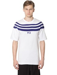 Y 3 Stripes Cotton Jersey T Shirt