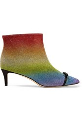 Marco De Vincenzo Pvc Trimmed Crystal Embellished Leather Ankle Boots Metallic