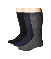 Steve Madden 3 Pack Crew Ribbed Black Grey Navy Men's Crew Cut Socks Shoes