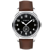 Montblanc 115073 Men's 1858 Automatic Small Second Leather Strap Watch Brown Black