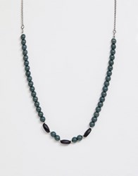 Icon Brand Beaded Neck Chain In Green