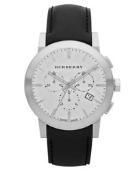 Burberry 42Mm Chronograph Watch W Matte Leather Strap Silver Black