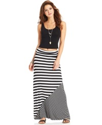 Ultra Flirt Juniors' Printed Foldover Maxi Skirt Black White Stripe