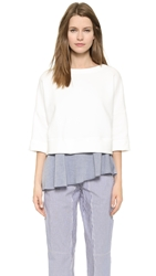 Derek Lam 10 Crosby 2 In 1 Sweatshirt With Tank White Blue