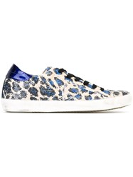 Philippe Model Sequin Leopard Print Sneakers Blue