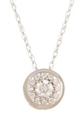 Candela 10K White Gold Round Cubic Zirconia Charm Necklace Metallic