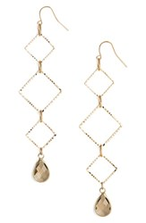Elise M. Callie Triangle Drop Earrings Gold Grey