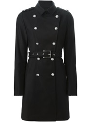 Versus Double Breasted Military Coat Black