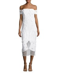 Thurley Apollo Crochet Off The Shoulder Midi Dress White