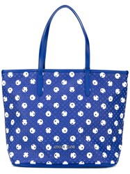 Armani Jeans Perforated Circle Print Tote Women Pvc One Size Blue