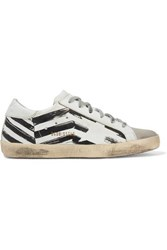 Golden Goose Deluxe Brand Superstar Distressed Printed Leather And Suede Sneakers White