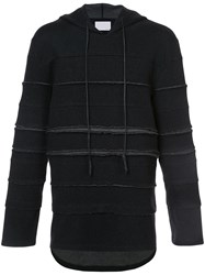 Private Stock Raw Edge Panelled Hoodie Polyester Wool S Black