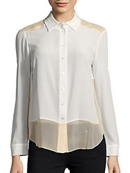 Magaschoni Long Sleeve Silk Top Blanc White