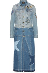 Roberto Cavalli Two Tone Appliqued Denim Coat Mid Denim