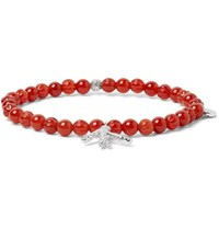 Isaia Silver Tone Charm Carnelian Beaded Bracelet Orange