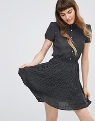 Qed London Button Up Skater Dress Black