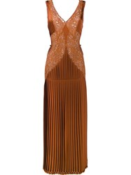 Stella Mccartney Pleated Front Lace Dress Yellow And Orange