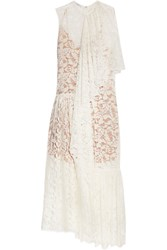 Stella Mccartney Elen One Shoulder Draped Cotton Blend Lace Gown White