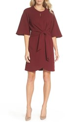 Tahari Tie Front Crepe Dress Brick Red