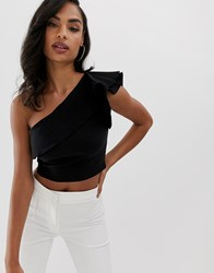Vesper One Shoulder Crop Top With Frill Detail In Black