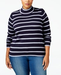 Melissa Mccarthy Seven7 Trendy Plus Size Striped Turtleneck Sweater Evening Blue