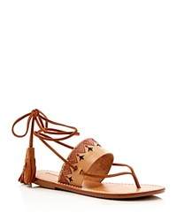 Soludos Embroidered Lace Up Flat Sandals Tan