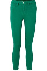 L'agence Margot Cropped High Rise Skinny Jeans Green