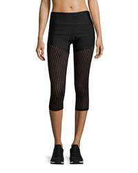 Onzie Half And Half Mesh Capri Performance Leggings Black