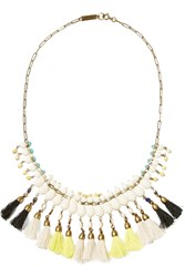 Isabel Marant Burnished Gold Tone Bead And Tassel Necklace White