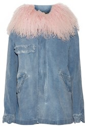 Mr And Mrs Italy Shearling Trimmed Distressed Stretch Denim Parka Mid Denim