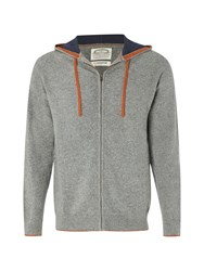 White Stuff Men's Snug Hooded Cardigan Knit Grey