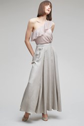 Anthropologie Sianna Metallic Maxi Skirt Silver Silver Size Uk 6