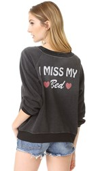 Wildfox Couture I Miss My Bed Sweatshirt Clean Black