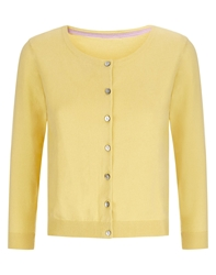 Havren Cropped Crew Neck Cardigan Yellow