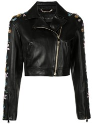 Versace Floral Embroidery Cropped Jacket Black