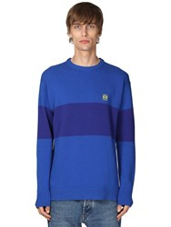 Loewe Striped Anagram Knit Wool Sweater Blue
