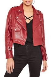 Missguided Faux Leather Moto Jacket Purple