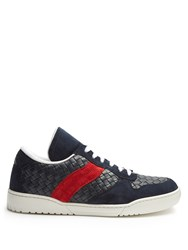 Bottega Veneta Intrecciato Low Top Leather And Suede Trainers Navy Multi