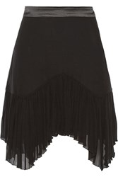 Roberto Cavalli Asymmetric Satin Trimmed Silk Georgette Mini Skirt