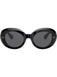 Oliver Peoples Erissa Round Oversized Sunglasses Black
