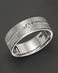 Bloomingdale's Men's 14K White Gold And Diamond Wedding Band