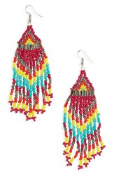 Cara Women's Beaded Drop Earrings Pink Multi